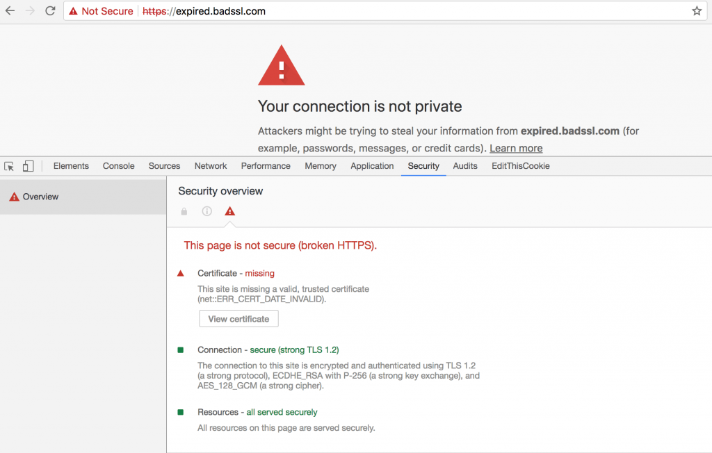 Chrome DevTools Security Your connection is not private