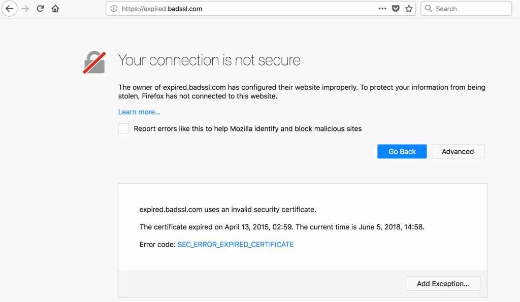 Firefox connection is not secure