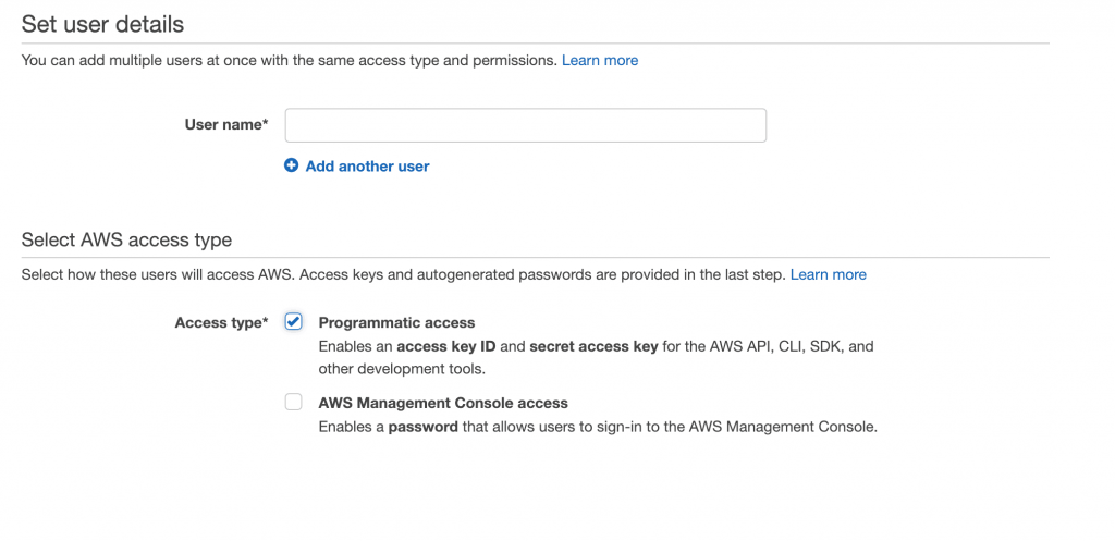 AWS IAM add user step 1